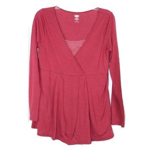 Old Navy Womens Maternity Red Long Sleeve Shirt
